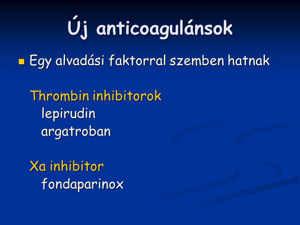 Új anticoagulánsok Egy alvadási faktorral szemben hatnak