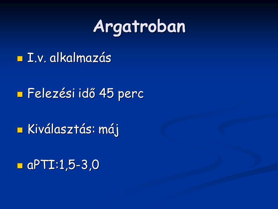 Argatroban I.v. alkalmazás Felezési idő 45 perc Kiválasztás: máj