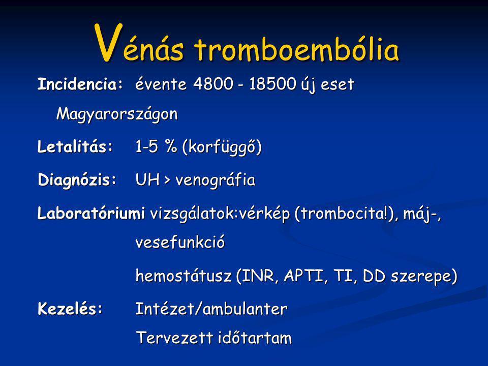 Vénás tromboembólia Incidencia: évente 4800 - 18500 új eset Magyarországon. Letalitás: 1-5 % (korfüggő)