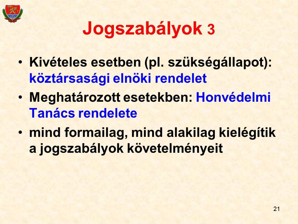 Jogszabályok 3 Kivételes esetben (pl. szükségállapot): köztársasági elnöki rendelet. Meghatározott esetekben: Honvédelmi Tanács rendelete.