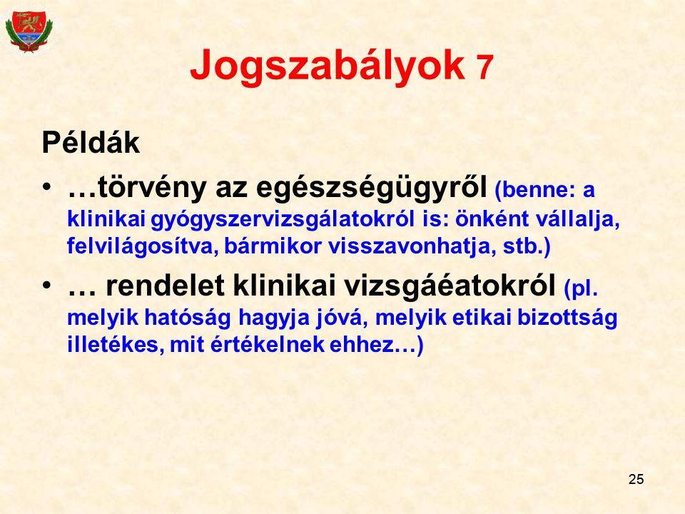 Jogszabályok 7 Példák.