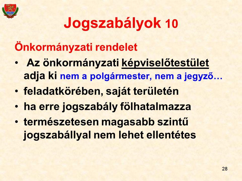 Jogszabályok 10 Önkormányzati rendelet