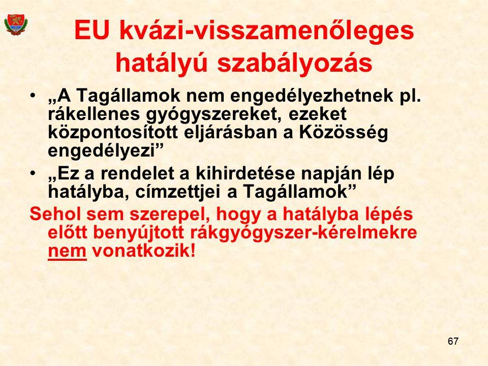 EU kvázi-visszamenőleges hatályú szabályozás