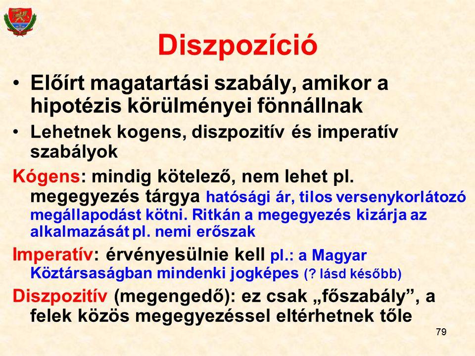 Diszpozíció Előírt magatartási szabály, amikor a hipotézis körülményei fönnállnak. Lehetnek kogens, diszpozitív és imperatív szabályok.