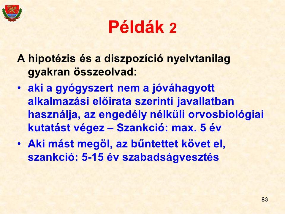 Példák 2 A hipotézis és a diszpozíció nyelvtanilag gyakran összeolvad: