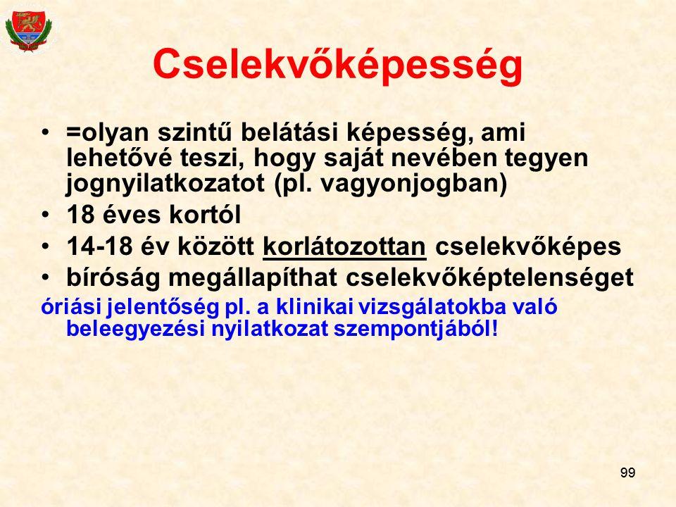Cselekvőképesség =olyan szintű belátási képesség, ami lehetővé teszi, hogy saját nevében tegyen jognyilatkozatot (pl. vagyonjogban)