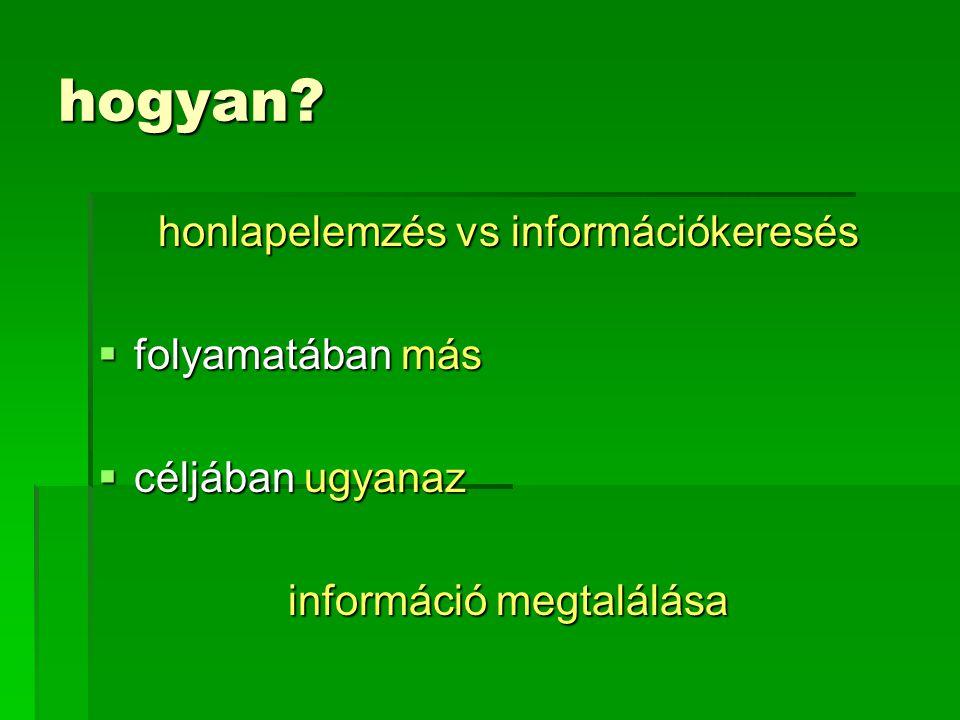 hogyan honlapelemzés vs információkeresés folyamatában más