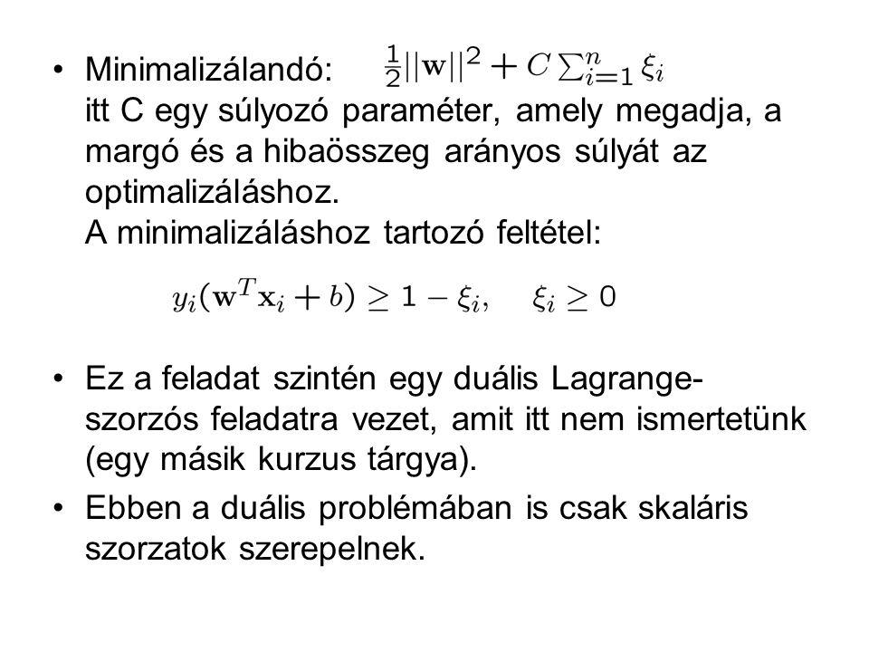Minimalizálandó: itt C egy súlyozó paraméter, amely megadja, a margó és a hibaösszeg arányos súlyát az optimalizáláshoz. A minimalizáláshoz tartozó feltétel:
