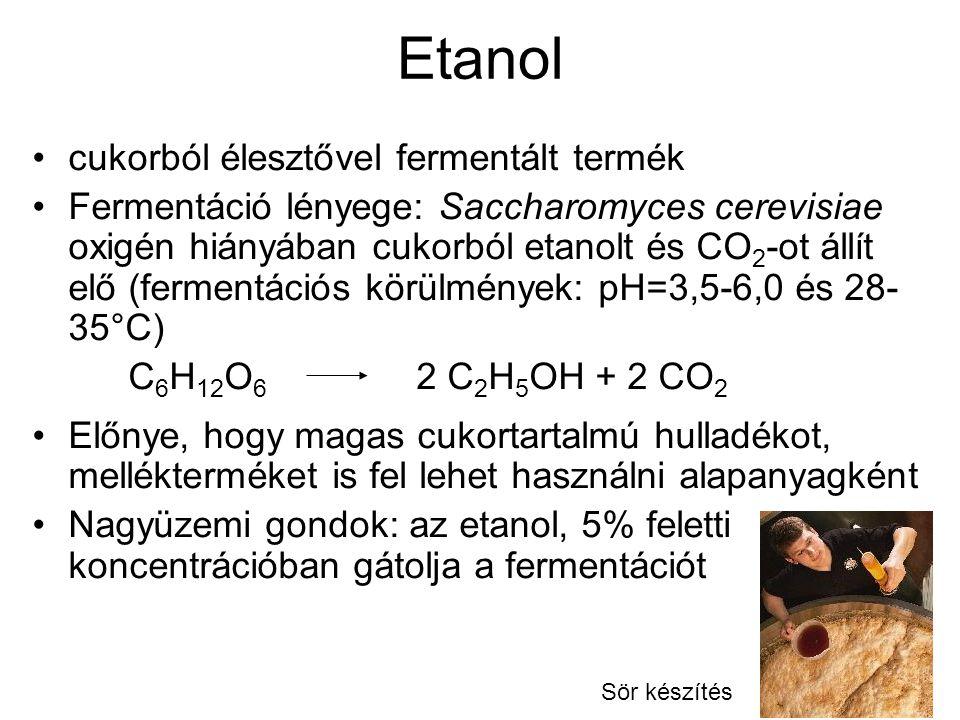 Etanol cukorból élesztővel fermentált termék