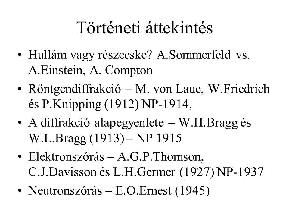 Történeti áttekintés Hullám vagy részecske A.Sommerfeld vs. A.Einstein, A. Compton.