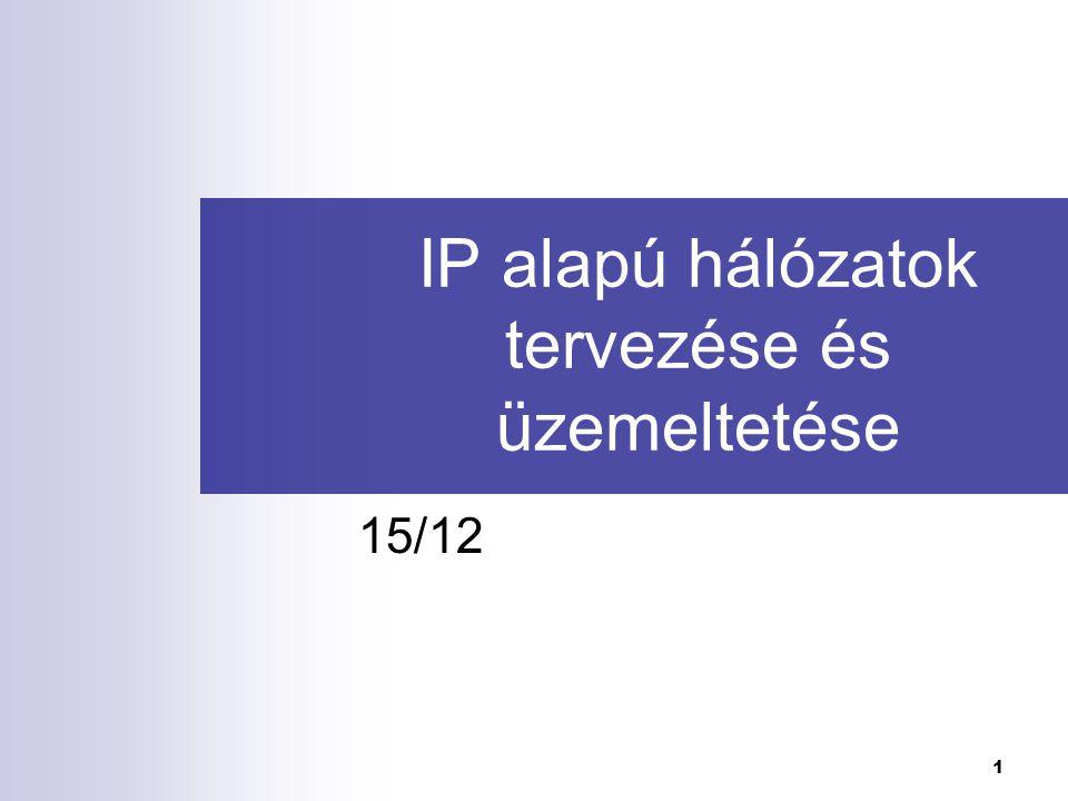 IP alapú hálózatok tervezése és üzemeltetése