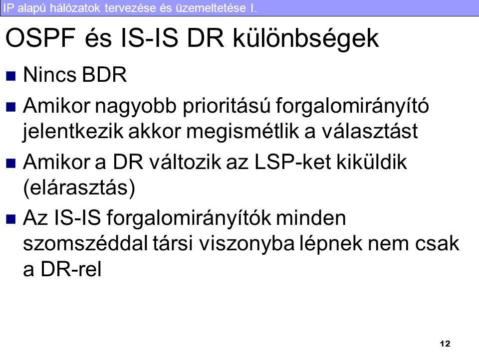 OSPF és IS-IS DR különbségek
