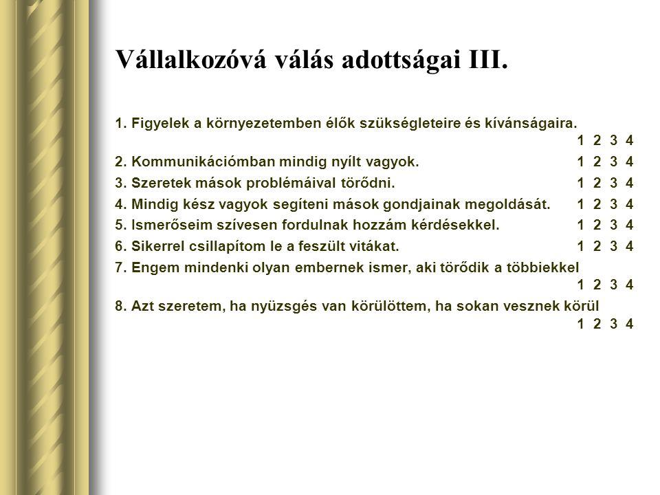 Vállalkozóvá válás adottságai III.