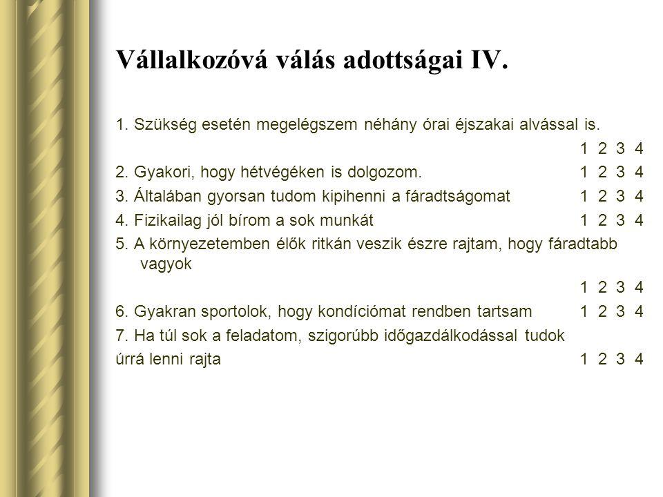 Vállalkozóvá válás adottságai IV.
