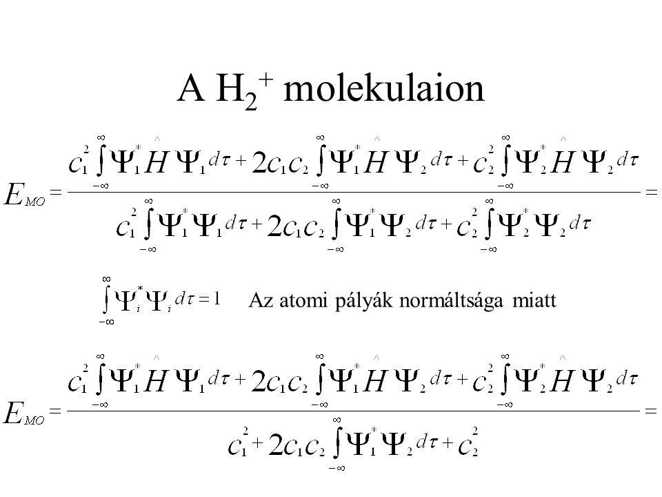 A H2+ molekulaion Az atomi pályák normáltsága miatt