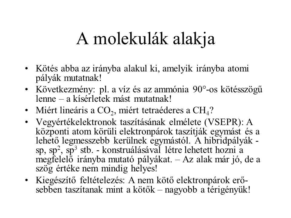 A molekulák alakja Kötés abba az irányba alakul ki, amelyik irányba atomi pályák mutatnak!
