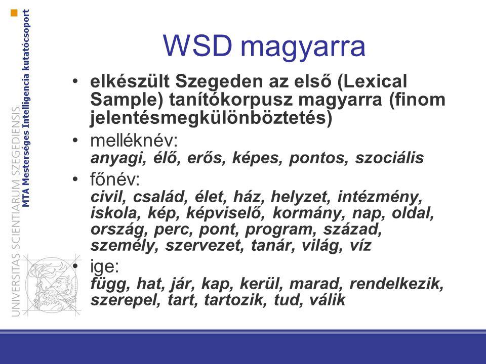 WSD magyarra elkészült Szegeden az első (Lexical Sample) tanítókorpusz magyarra (finom jelentésmegkülönböztetés)