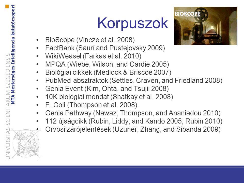 Korpuszok BioScope (Vincze et al. 2008)