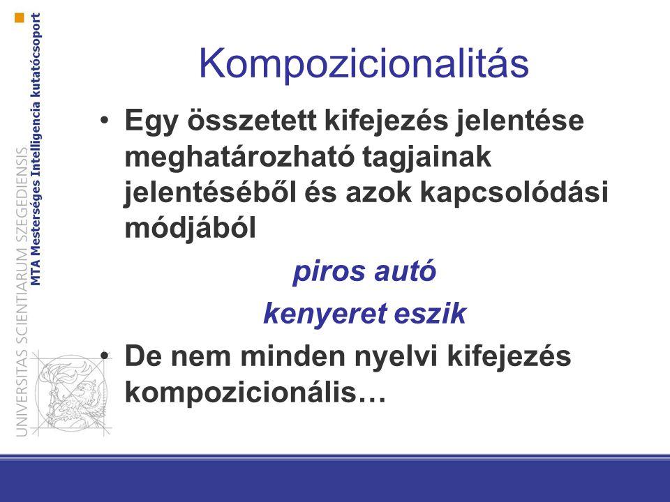 Kompozicionalitás Egy összetett kifejezés jelentése meghatározható tagjainak jelentéséből és azok kapcsolódási módjából.