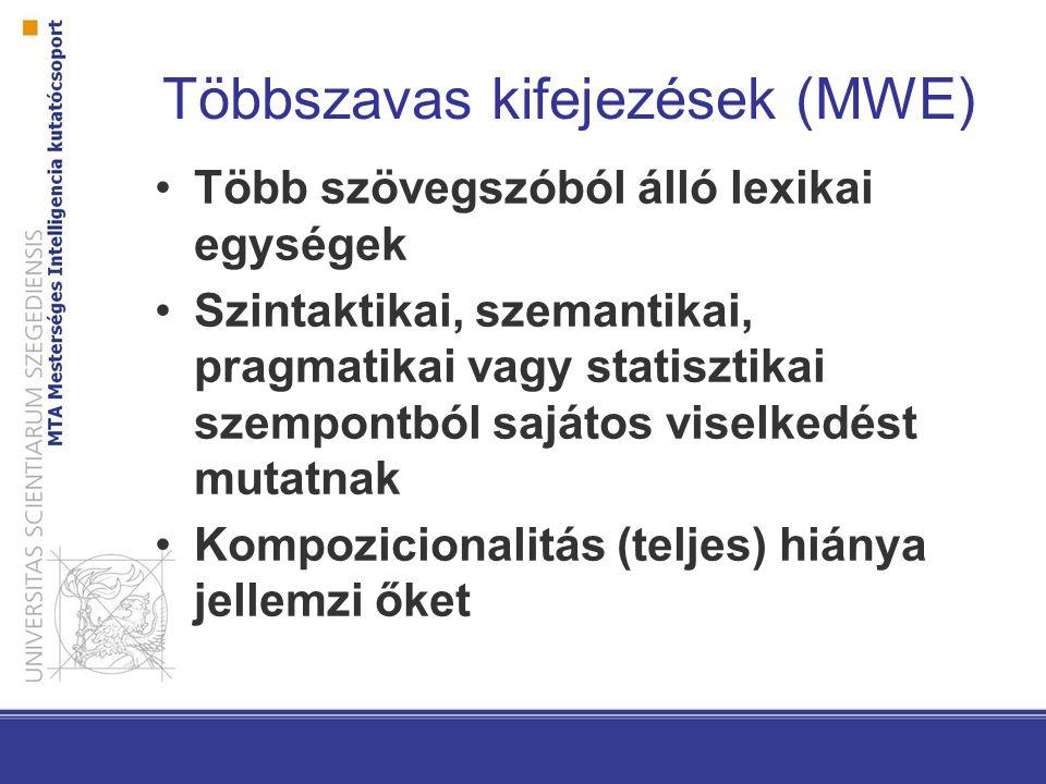 Többszavas kifejezések (MWE)