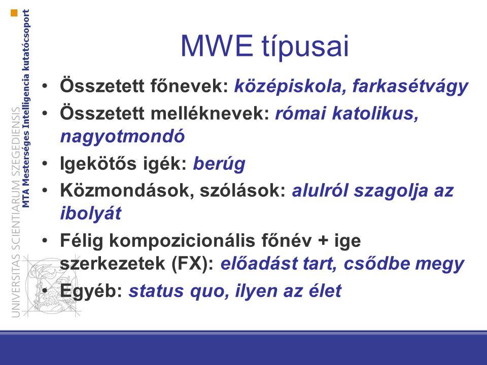 MWE típusai Összetett főnevek: középiskola, farkasétvágy