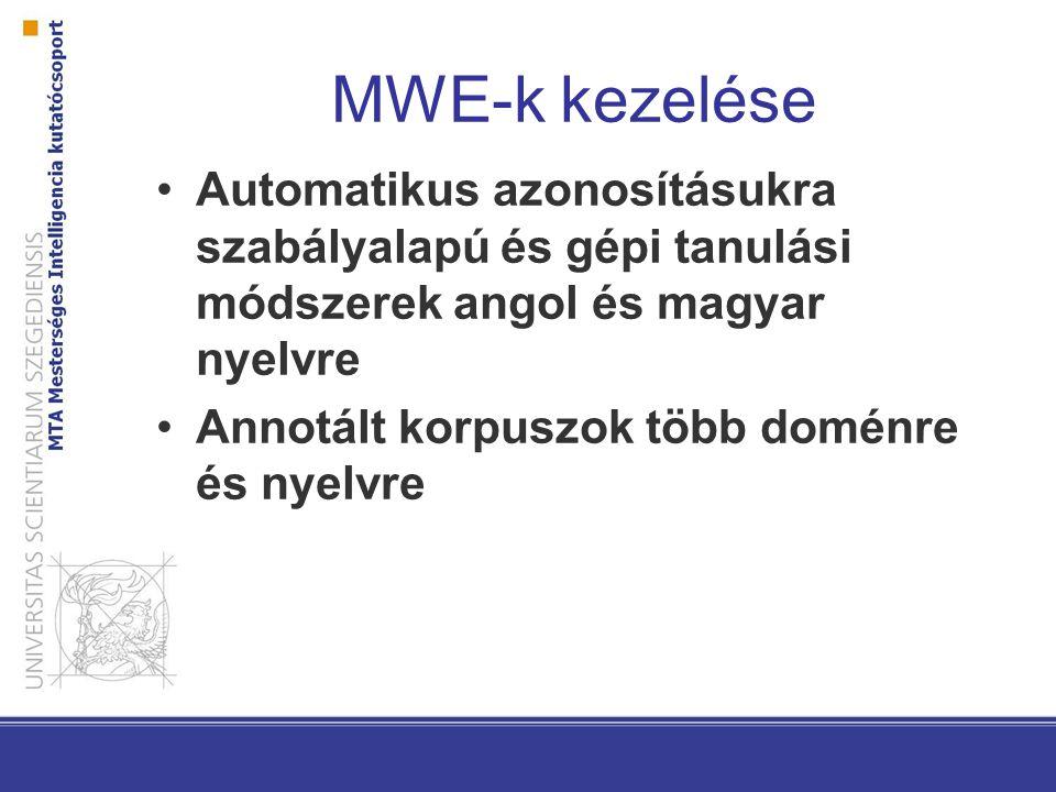 MWE-k kezelése Automatikus azonosításukra szabályalapú és gépi tanulási módszerek angol és magyar nyelvre.