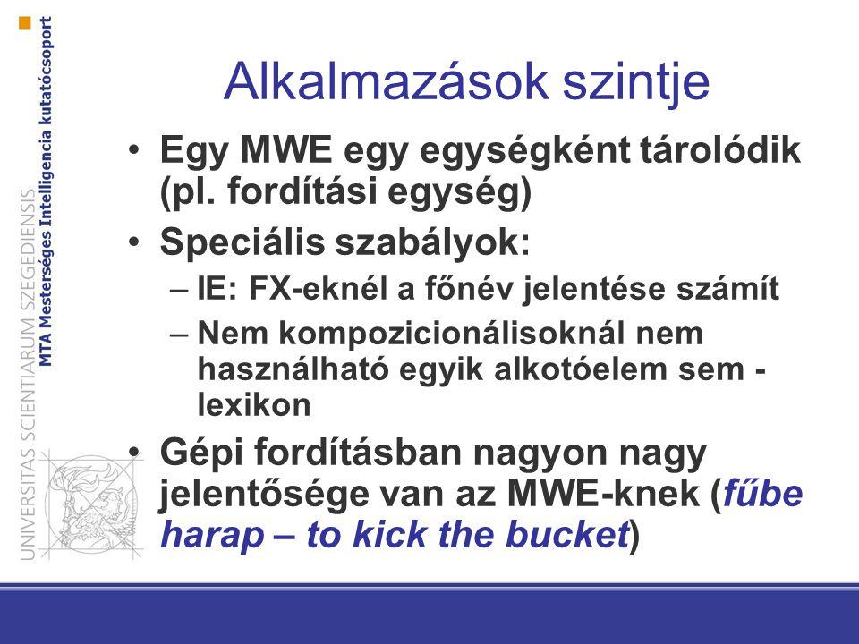 Alkalmazások szintje Egy MWE egy egységként tárolódik (pl. fordítási egység) Speciális szabályok: IE: FX-eknél a főnév jelentése számít.