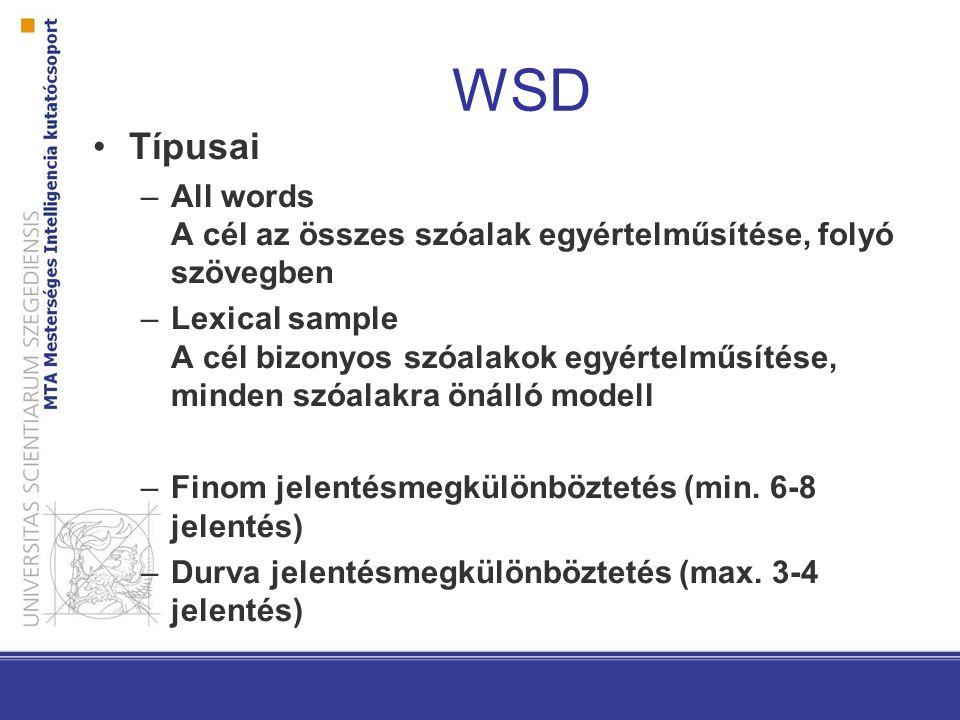 WSD Típusai. All words A cél az összes szóalak egyértelműsítése, folyó szövegben.