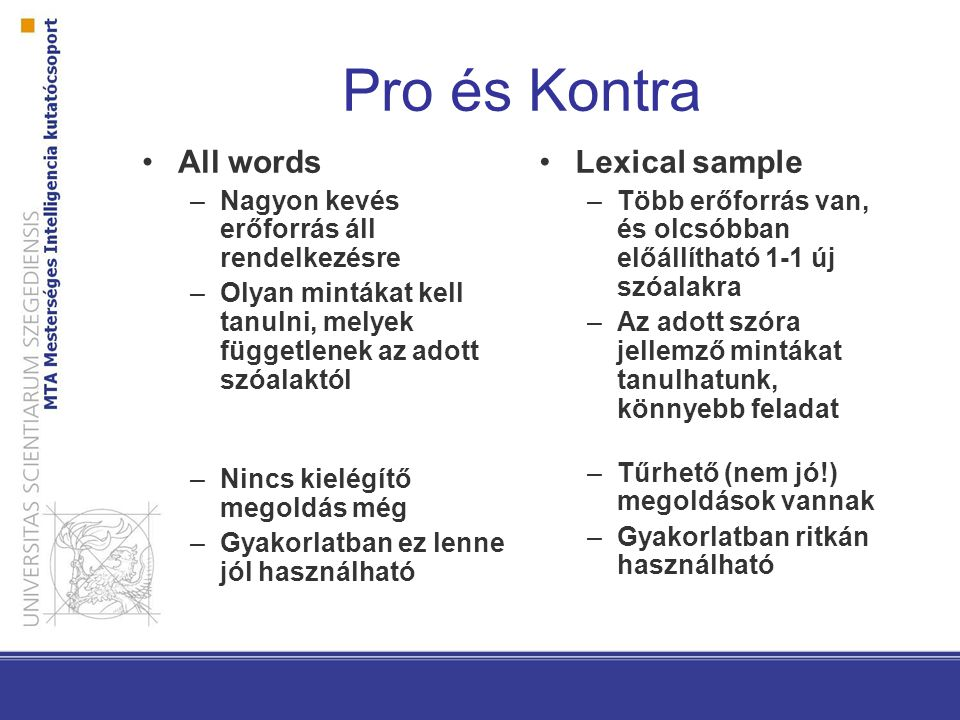 Pro és Kontra All words Lexical sample