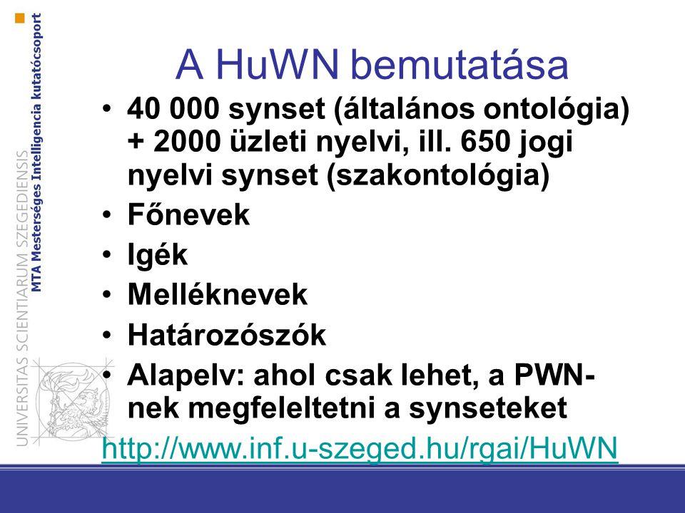 A HuWN bemutatása 40 000 synset (általános ontológia) + 2000 üzleti nyelvi, ill. 650 jogi nyelvi synset (szakontológia)