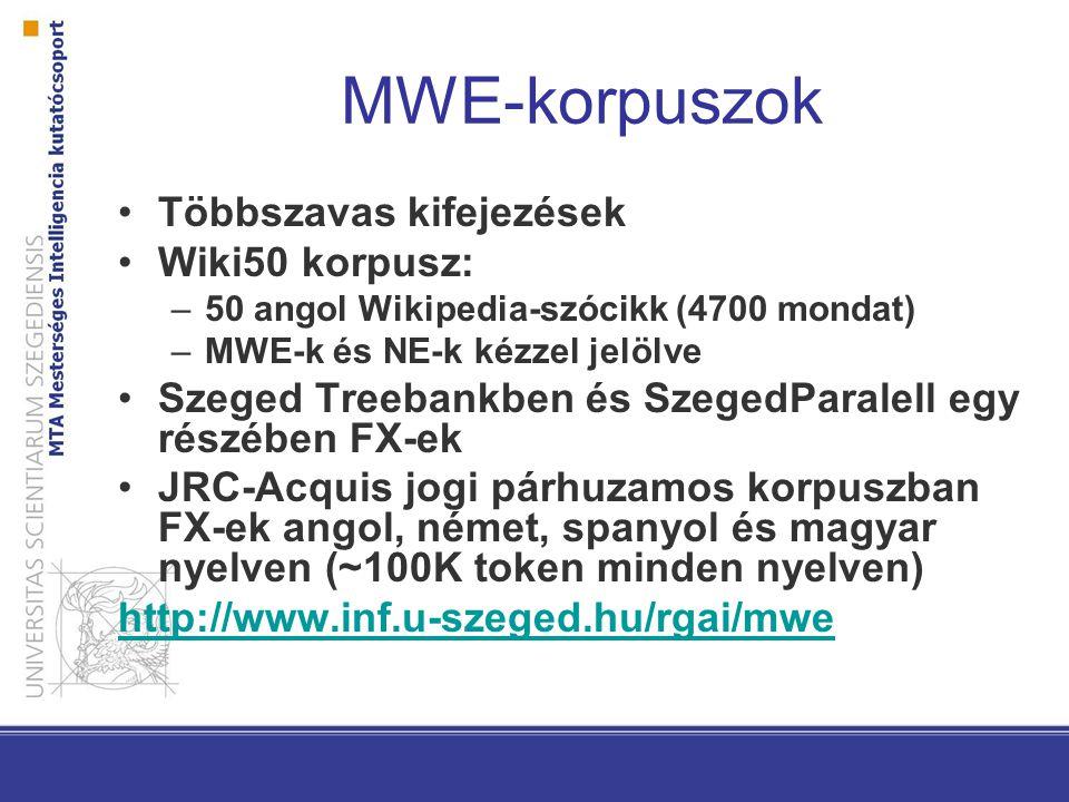 MWE-korpuszok Többszavas kifejezések Wiki50 korpusz: