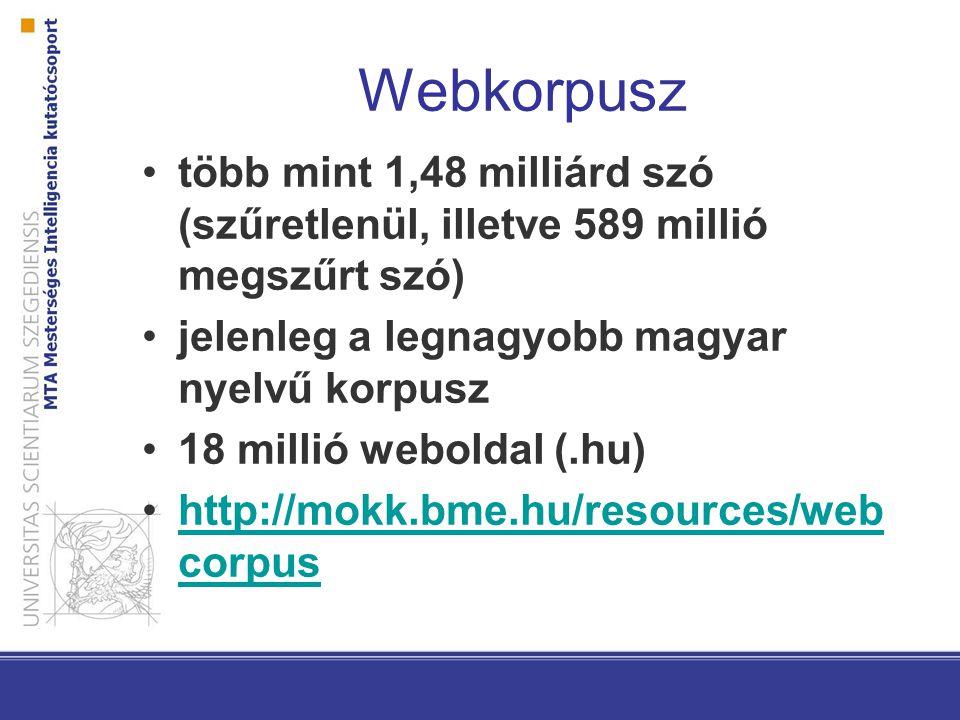 Webkorpusz több mint 1,48 milliárd szó (szűretlenül, illetve 589 millió megszűrt szó) jelenleg a legnagyobb magyar nyelvű korpusz.