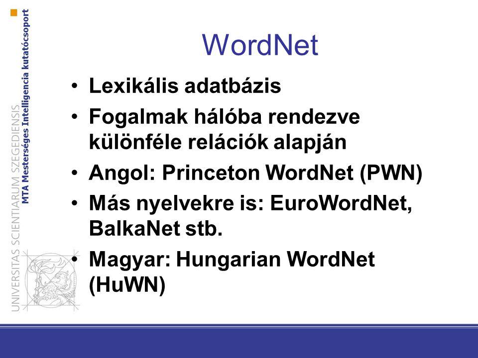 WordNet Lexikális adatbázis