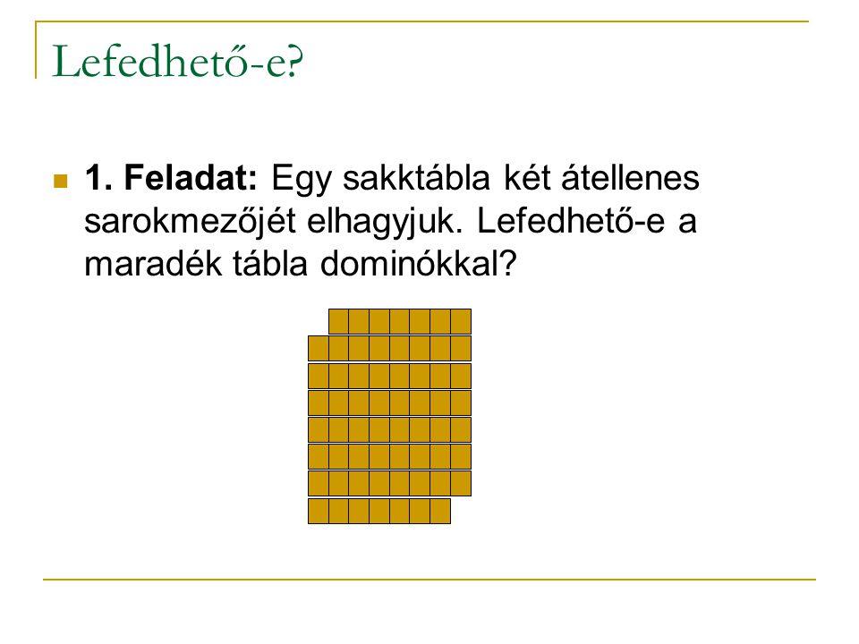 Lefedhető-e. 1. Feladat: Egy sakktábla két átellenes sarokmezőjét elhagyjuk.