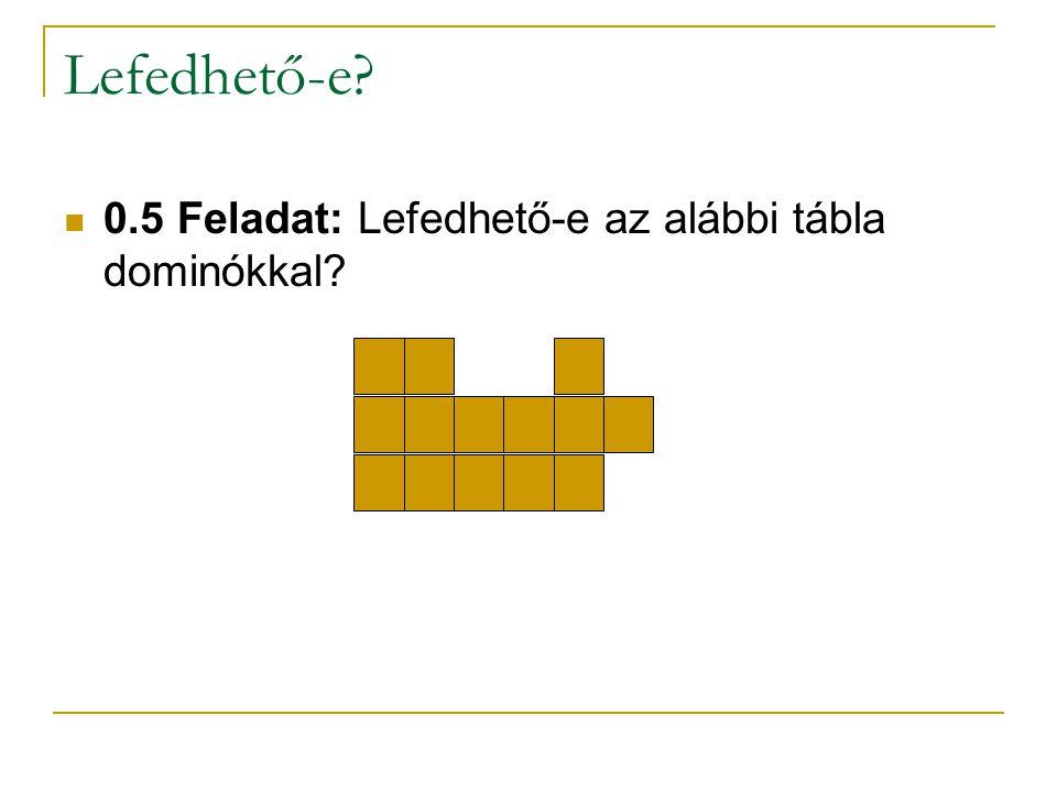 Lefedhető-e 0.5 Feladat: Lefedhető-e az alábbi tábla dominókkal