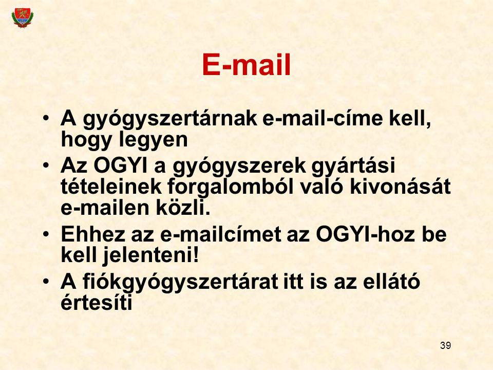 E-mail A gyógyszertárnak e-mail-címe kell, hogy legyen
