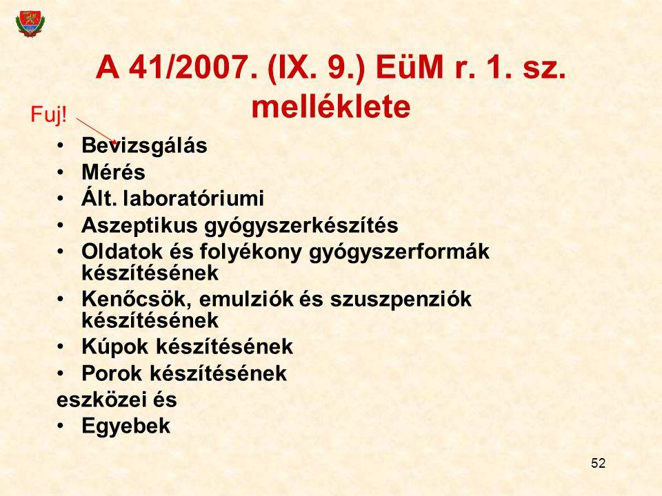 A 41/2007. (IX. 9.) EüM r. 1. sz. melléklete