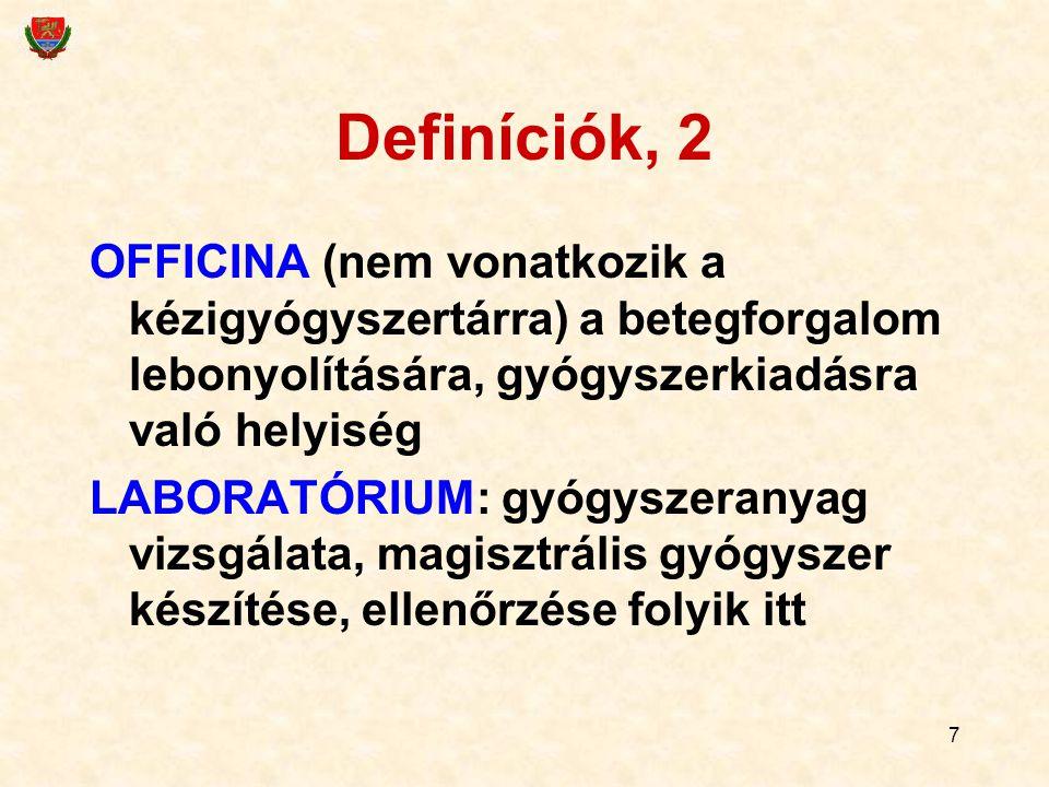 Definíciók, 2 OFFICINA (nem vonatkozik a kézigyógyszertárra) a betegforgalom lebonyolítására, gyógyszerkiadásra való helyiség.