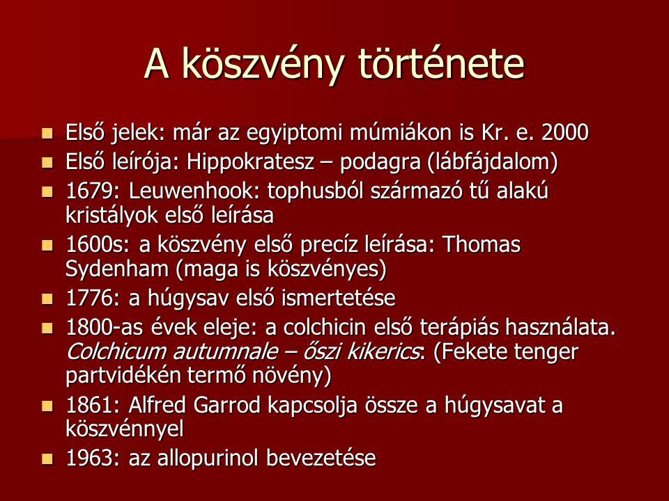 A köszvény története Első jelek: már az egyiptomi múmiákon is Kr. e. 2000. Első leírója: Hippokratesz – podagra (lábfájdalom)