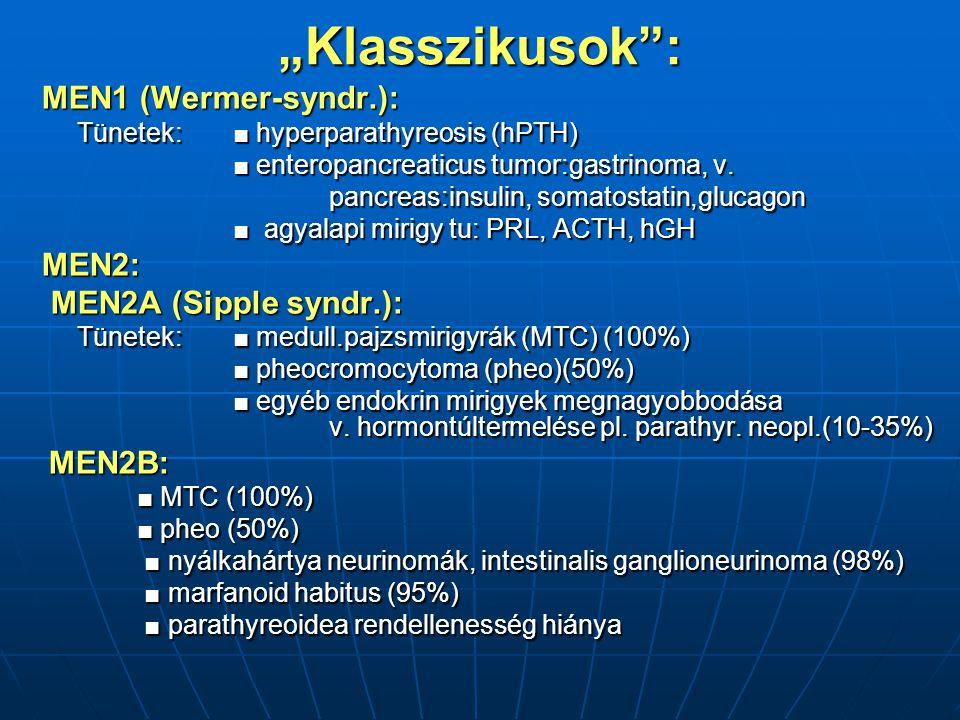 """Klasszikusok : MEN1 (Wermer-syndr.): MEN2: MEN2A (Sipple syndr.):"