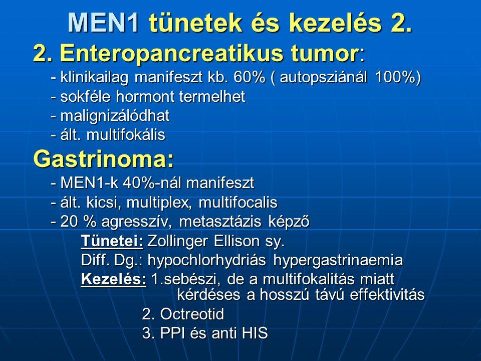 MEN1 tünetek és kezelés 2. 2. Enteropancreatikus tumor: Gastrinoma: