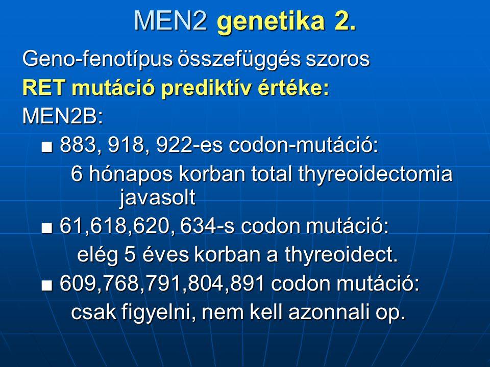 MEN2 genetika 2. Geno-fenotípus összefüggés szoros