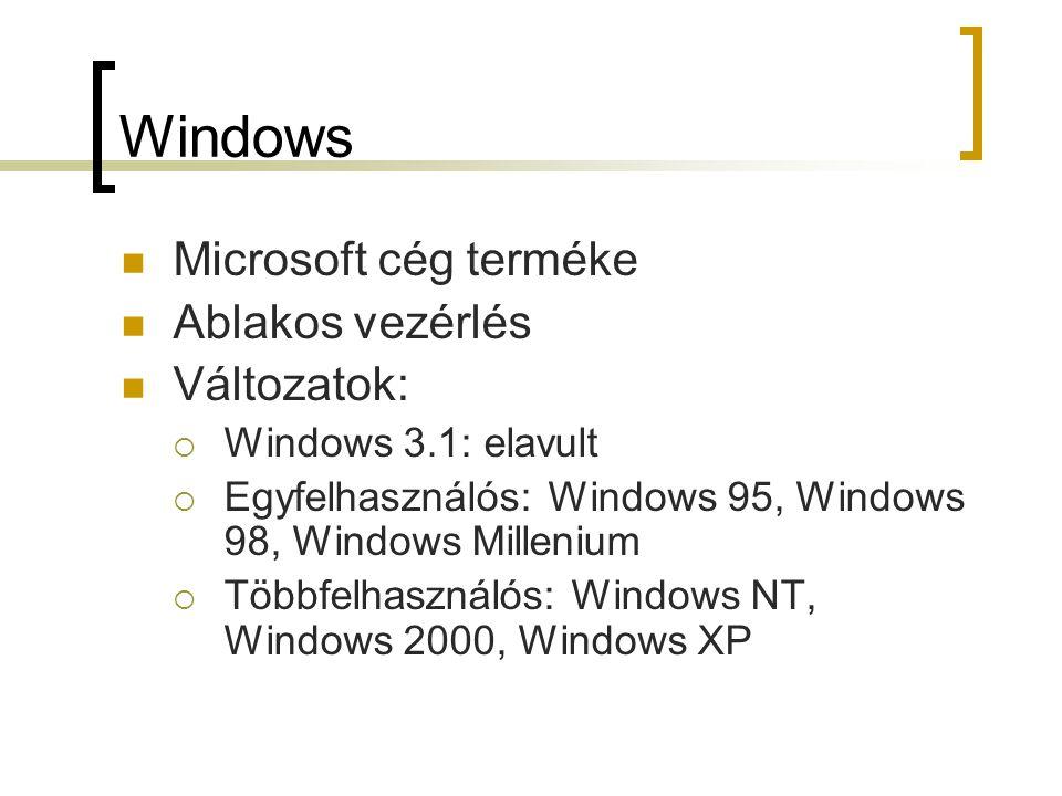 Windows Microsoft cég terméke Ablakos vezérlés Változatok: