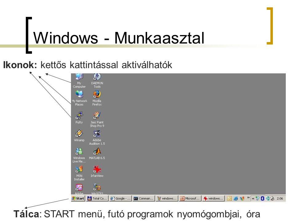 Windows - Munkaasztal Ikonok: kettős kattintással aktiválhatók