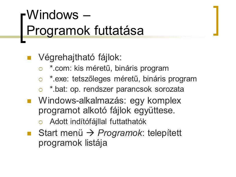 Windows – Programok futtatása