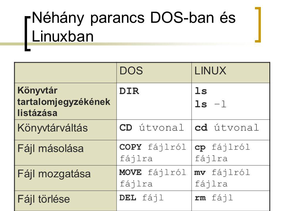 Néhány parancs DOS-ban és Linuxban
