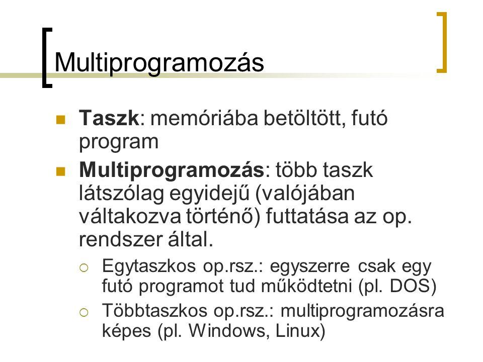 Multiprogramozás Taszk: memóriába betöltött, futó program
