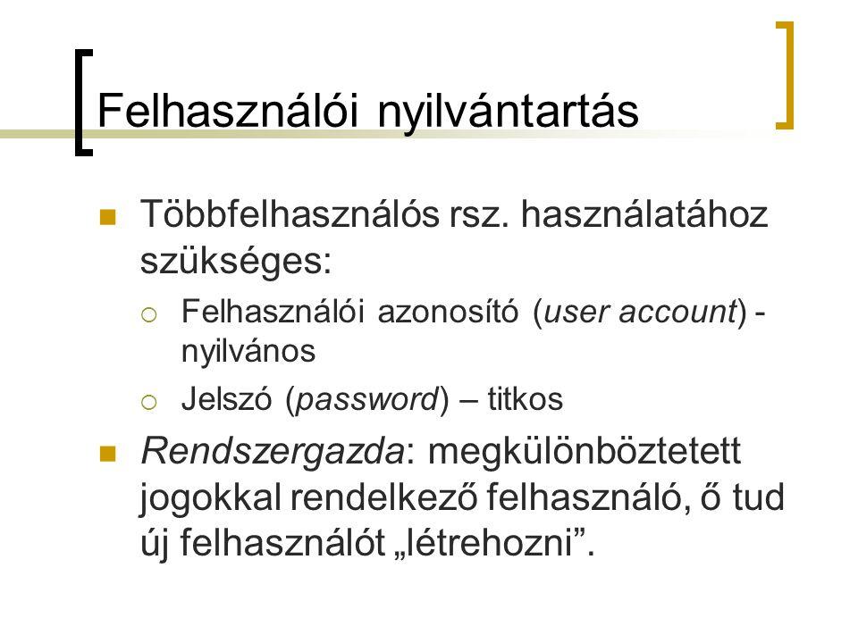 Felhasználói nyilvántartás