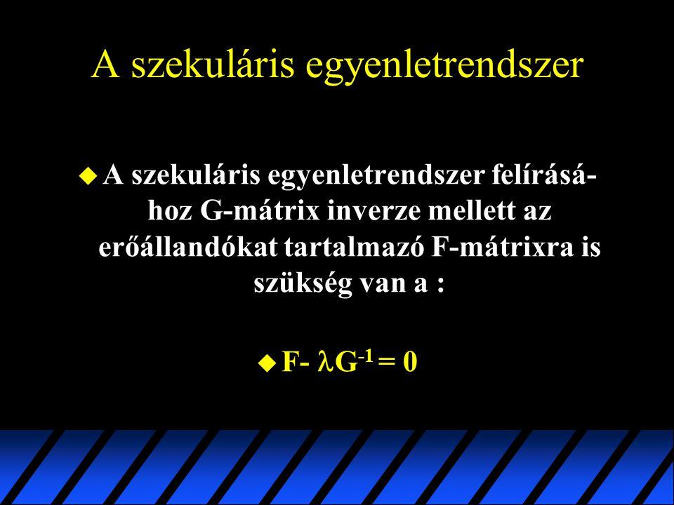 A szekuláris egyenletrendszer