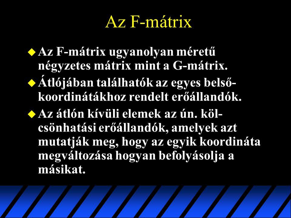 Az F-mátrix Az F-mátrix ugyanolyan méretű négyzetes mátrix mint a G-mátrix. Átlójában találhatók az egyes belső-koordinátákhoz rendelt erőállandók.